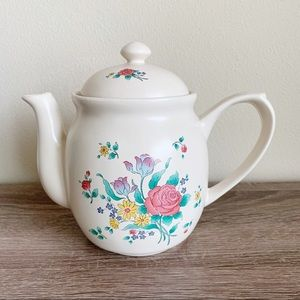 Vintage Valencia flower ceramic tea pot
